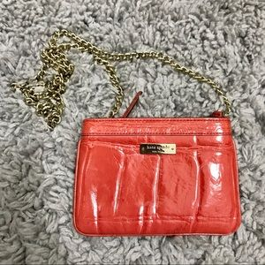KATE SPADE SYLVIA CROC EMBOSSED CHAIN PURSE